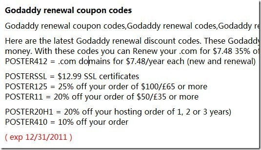 Godaddy renewal discount coupon