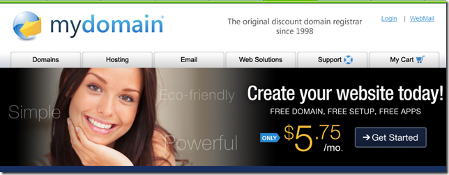 Mydomain 20% off promo code of any order