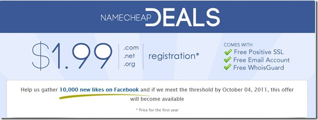 namecheap promo code October 1.99 dollar domain