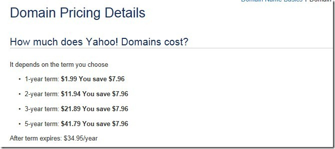 yahoo 1.99 dollar domain coupon code 2011