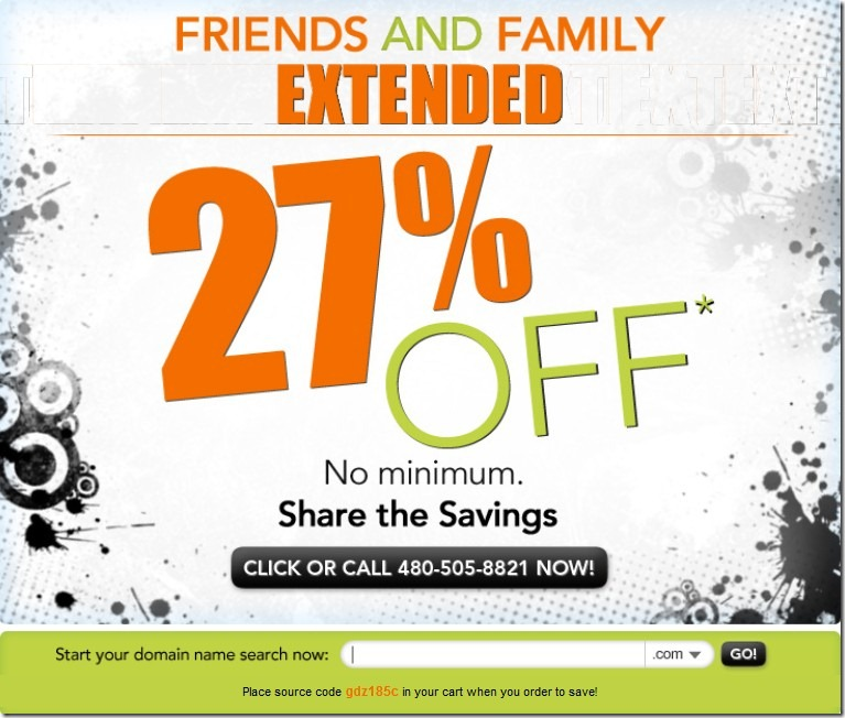 godaddy 27% off promo code November 2011