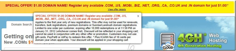 godaddy 1 dollar coupon code December 2011