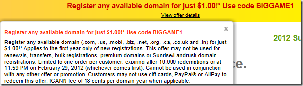 godaddy $1 domain promo code january 2012