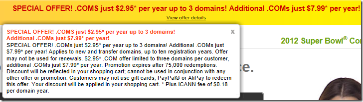 godaddy coupon code $2.95 domain January 2012