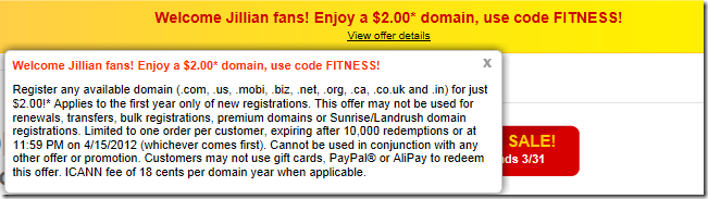 godaddy $2 promo code march 2012