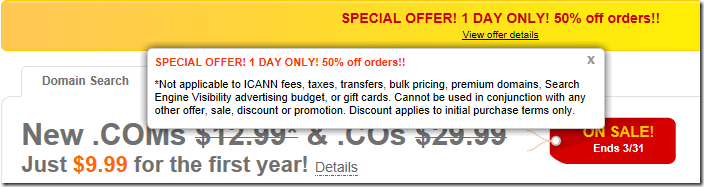 godaddy 50% off promo code march 2012
