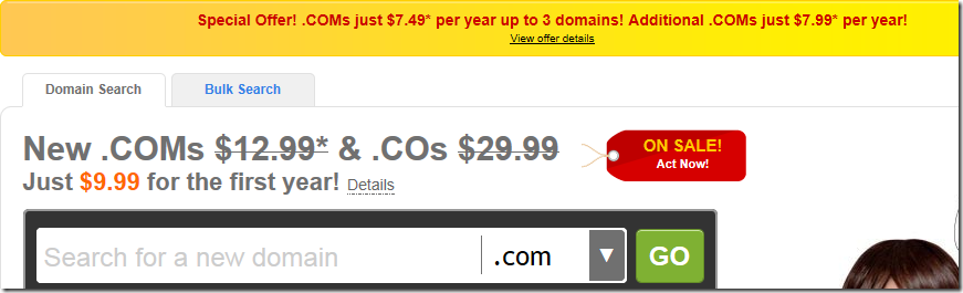 godaddy promo code march 2012 $7