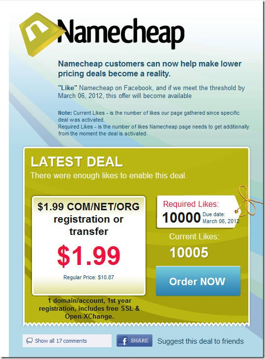 namecheap coupon code march 2012 1.99 domain
