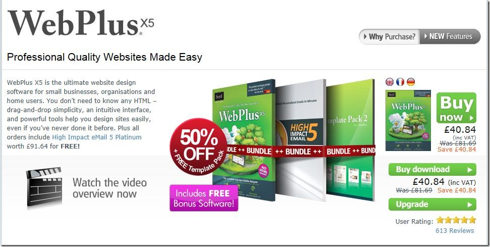 serif webplus x5 50% off march 2012