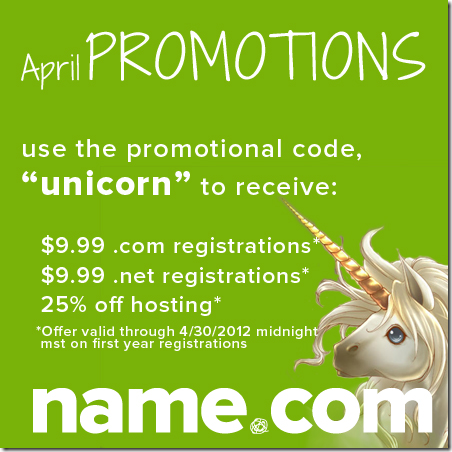 name.com coupon code april 2012