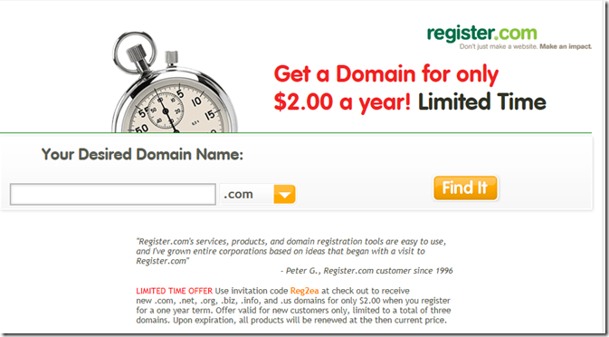 register.com $2 domain promo code 2012 April