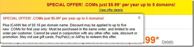 godaddy $5.99 .com domain coupon code may 2012
