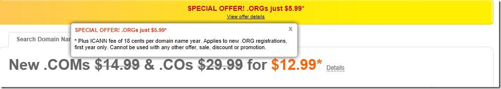 godaddy $5.99 .org domain promo code may 2012