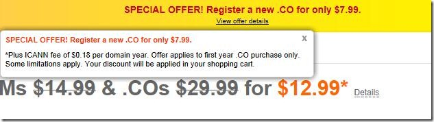 godaddy coupon code .co for $7.99 may 2012