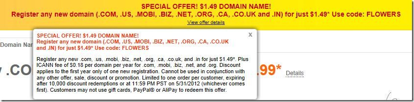 godaddy coupon code $1.49 domain may 2012