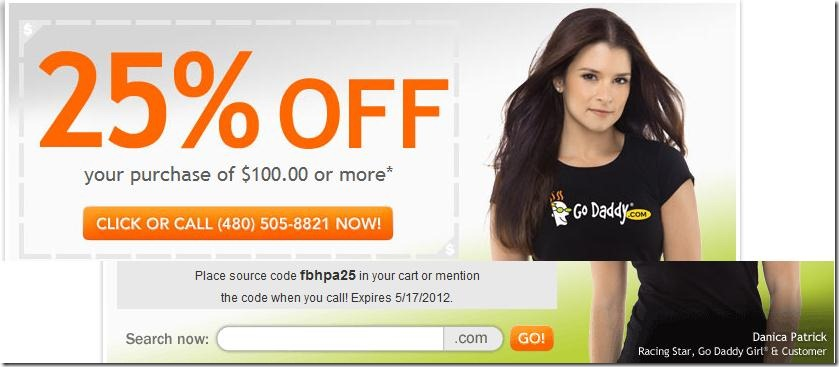 godaddy coupon code 25% off may 2012