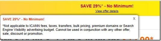 godaddy coupon code 29% off may 2012