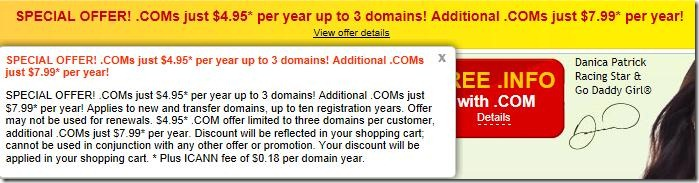 godaddy coupon code $4.95 domain may 2012