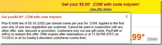 godaddy coupon code $5 domain may june july 2012