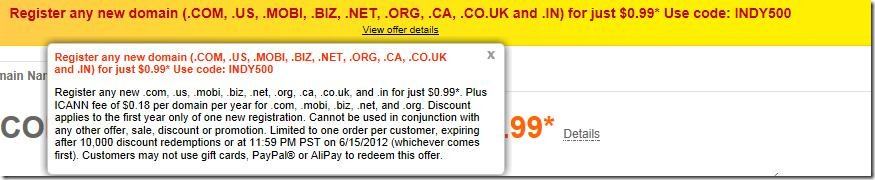 godaddy promo code june 2012 $0.99 domain coupon