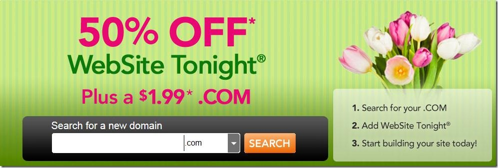 godaddy website tonight promo code 50% off and $1.99 domain