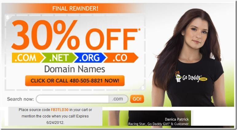 godaddy couon code domain 30% off june 2012