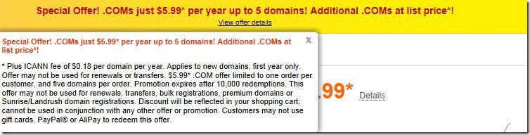 godaddy promo code $5.99 domain june 2012