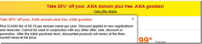 godaddy promo code june 2012 20% off .asia domain