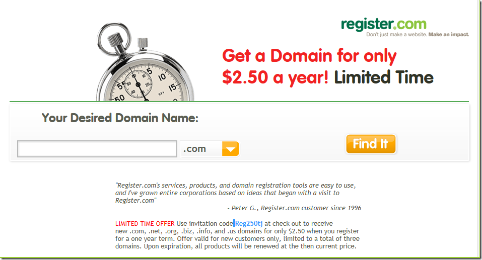 register.com $2.5 domain promo code june 2012
