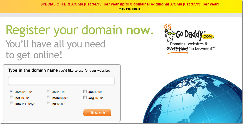 godaddy coupon code july 2012 $4.95 domain