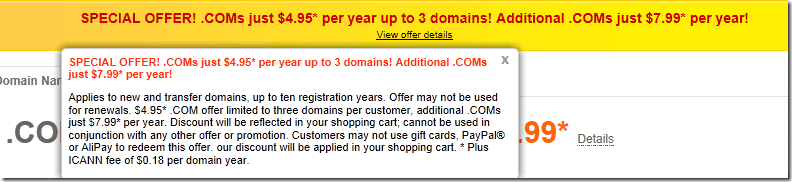 godaddy promo code july 2012 $4.95 domain coupon