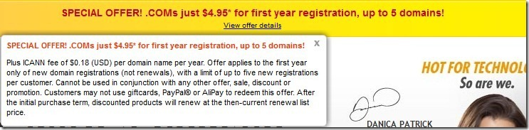 godaddy $4.95 domains promo code September 2012