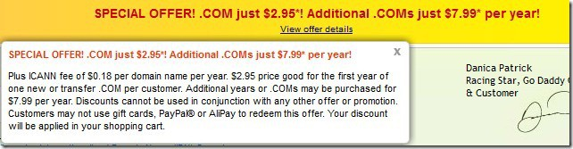 godaddy promo code September 2012 $2.95 domain
