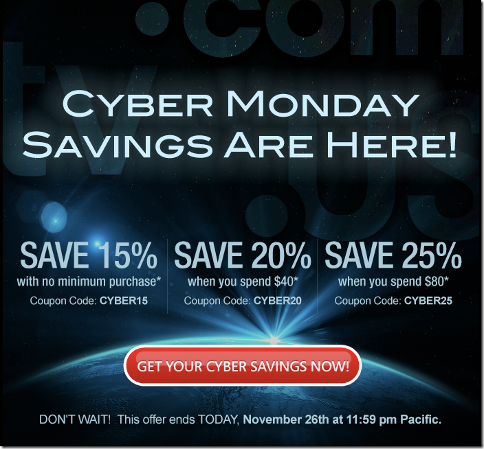 domain.com cyber monday domain coupon 2012