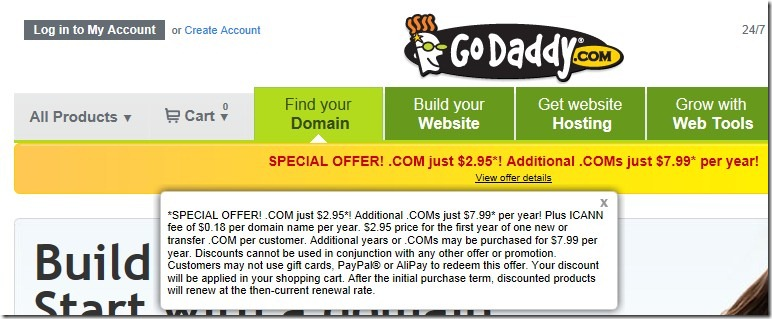 godaddy $2.95 domain coupon code November 2012