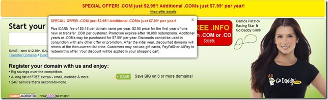 godaddy coupon code $2.95 domain November 2012