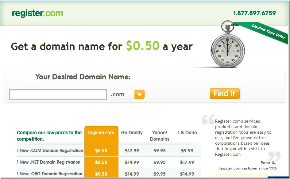 Register .Com $0.5 domainpromo code December 2012
