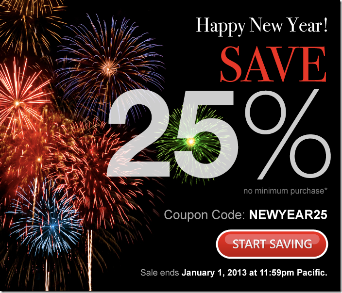 domain.com 25% off coupon January 2013