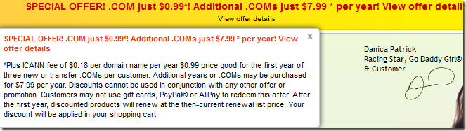 godaddy $0.99 domain promo code January 2013