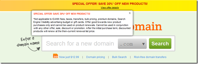 godaddy 30% off promo code January 2013