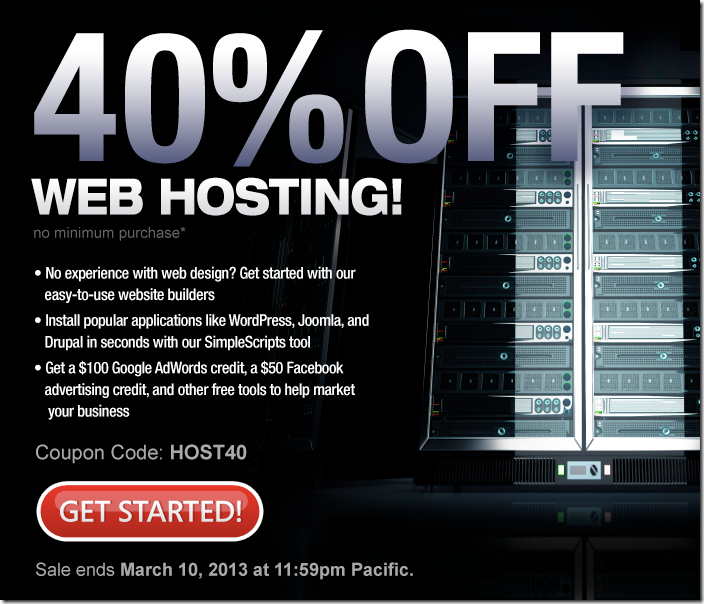 domain.com coupon march 2013 40% off hosting