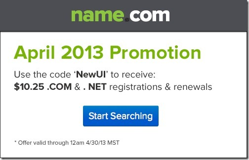 name.com coupon code April 2013
