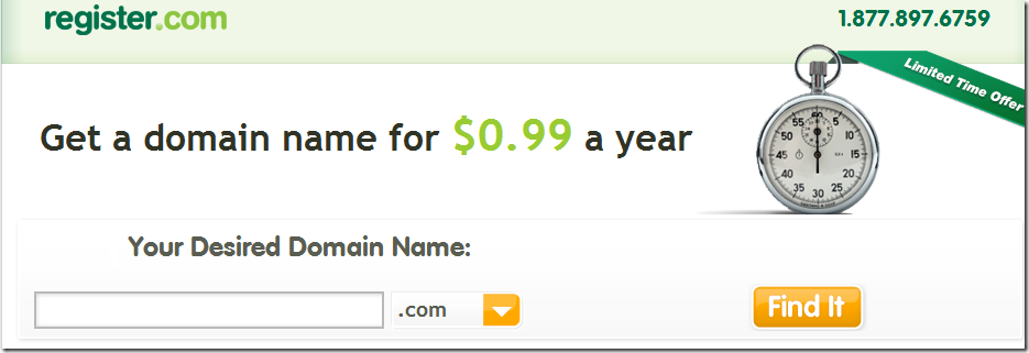 register.com $0. 99 domain promo code April 2013