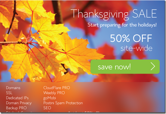 bluehost 50% off promo Thanksgiving 2013