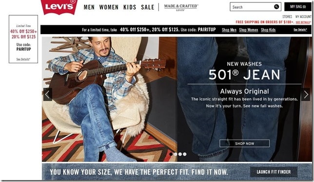 levis coupon code October 2014 20% off orders of $125. 40% off orders of $250
