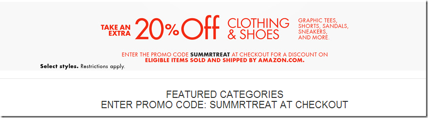 amazon coupon code june july 2015 20% off clothing and shoes