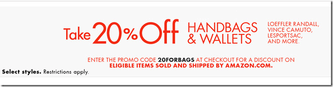 amazon coupon code 2015 july 20% off handbags and wallets