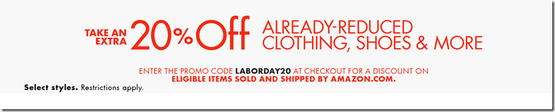 amazon coupon code laborday 2015 20% off clothing shoes jewelry