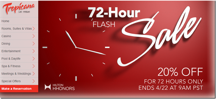 hilton hotel promo codes 2016 20% off April 72-Hour Flash Sale!